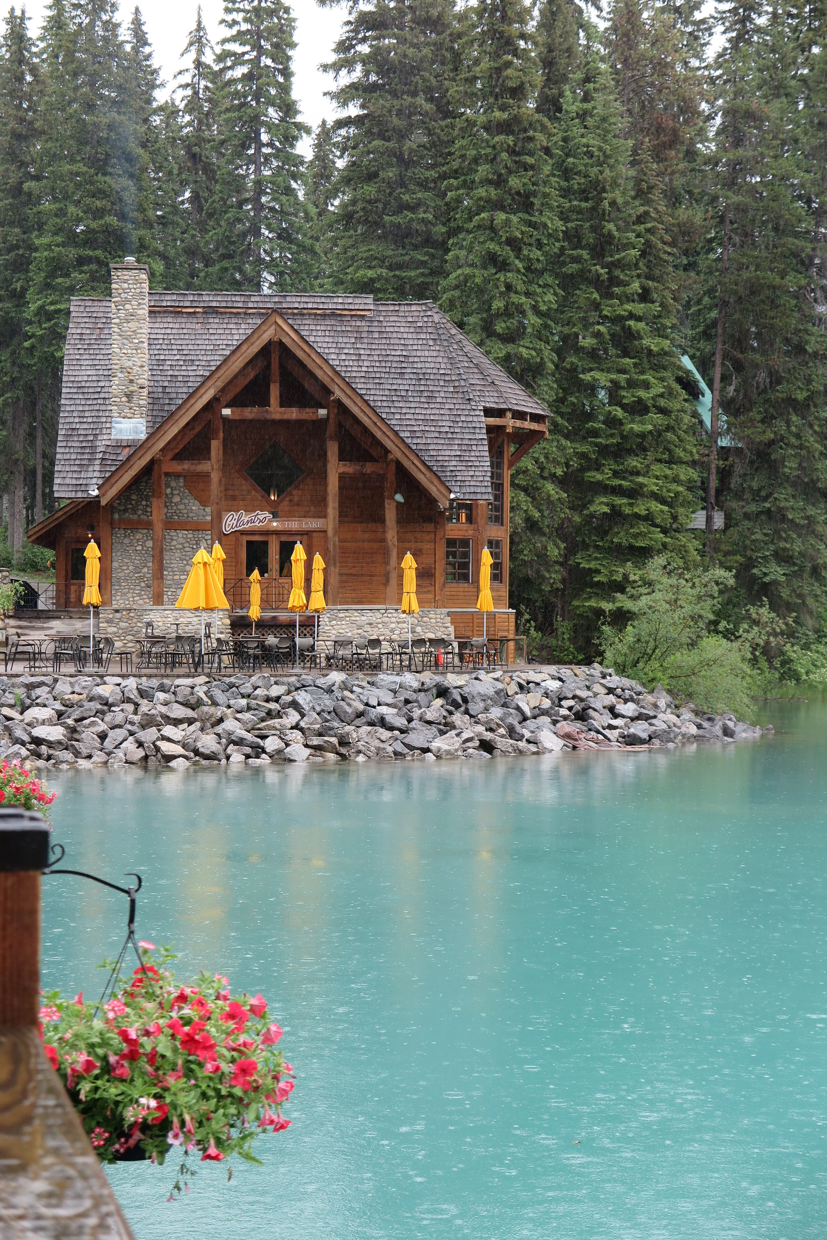 Emerald Lake Teahouse Canada in the rain