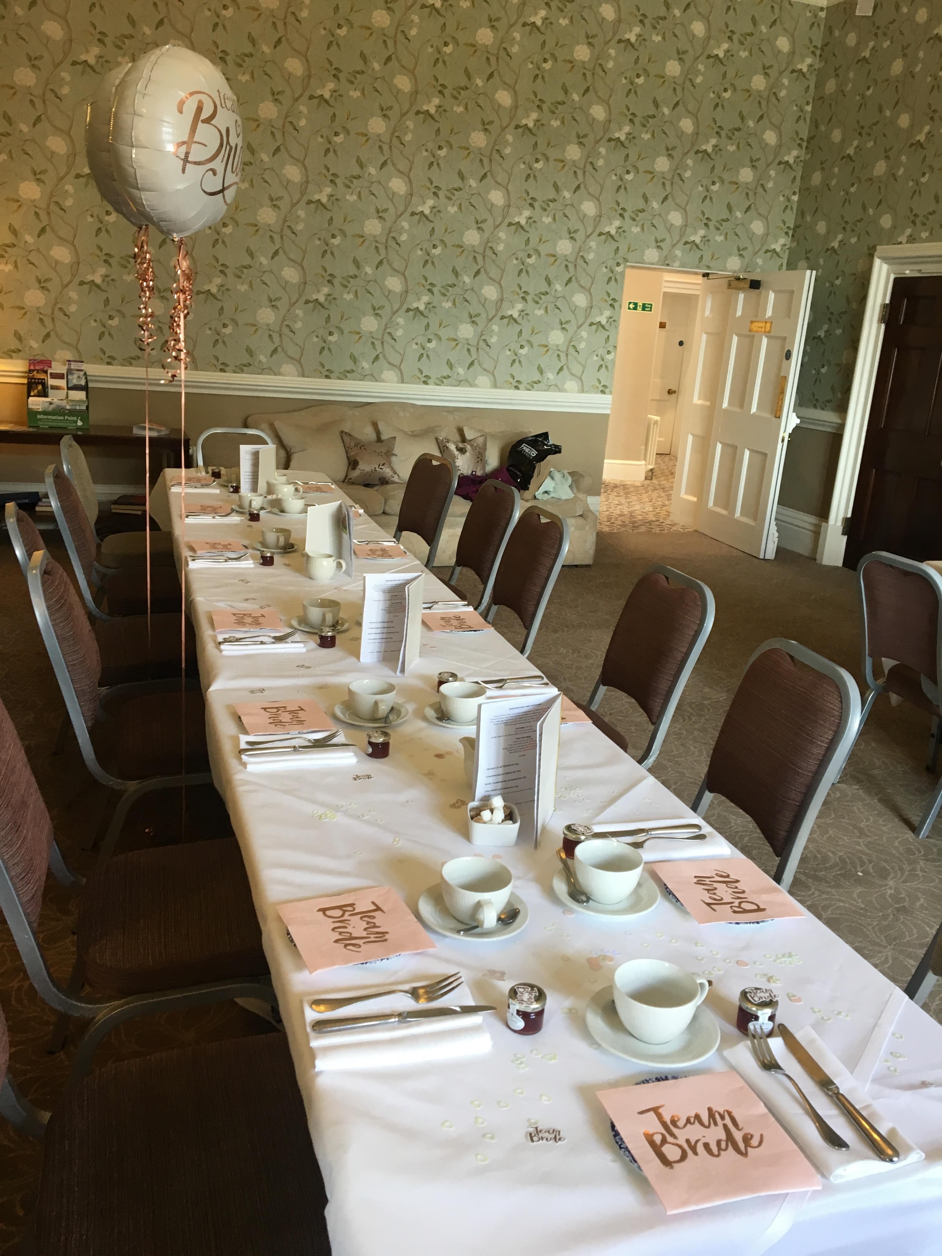 Afternoon tea table set up